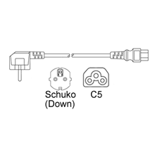Schuko CEE7/7 Down to IEC C5 2.5A 250V