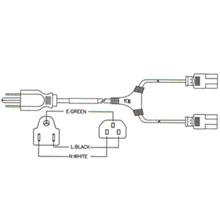 NEMA 5-15P to IEC C13 125 Volt Y Cable 10 ft