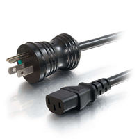 6ft 18 AWG Hospital Grade Power Cord (NEMA 5-15P to IEC320C13) – Black