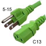 5-15P to C13 Green Power Cords - 10 Amp
