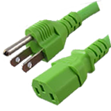 5-15P to C13 Green Power Cords