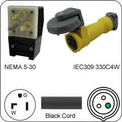 Plug Adapter NEMA 5-30 Plug to 330C4W Connector 1 Foot Cord