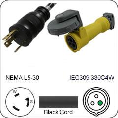 Plug Adapter NEMA L5-30 Plug to 330C4W Connector 1 Foot Cord