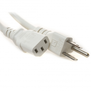 5-15P to C13 White Power Cords - 10 Amp