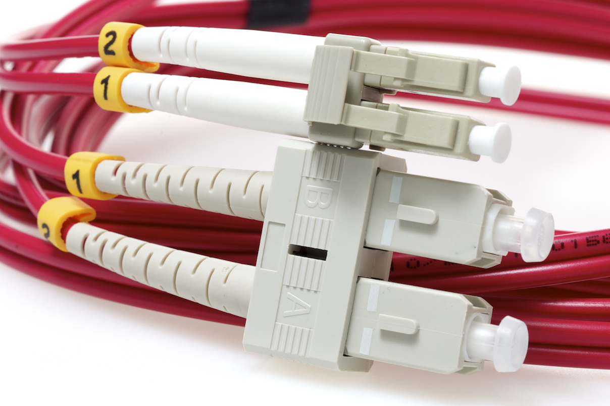 50 Micron LC to SC Red Jacket Fiber Cable