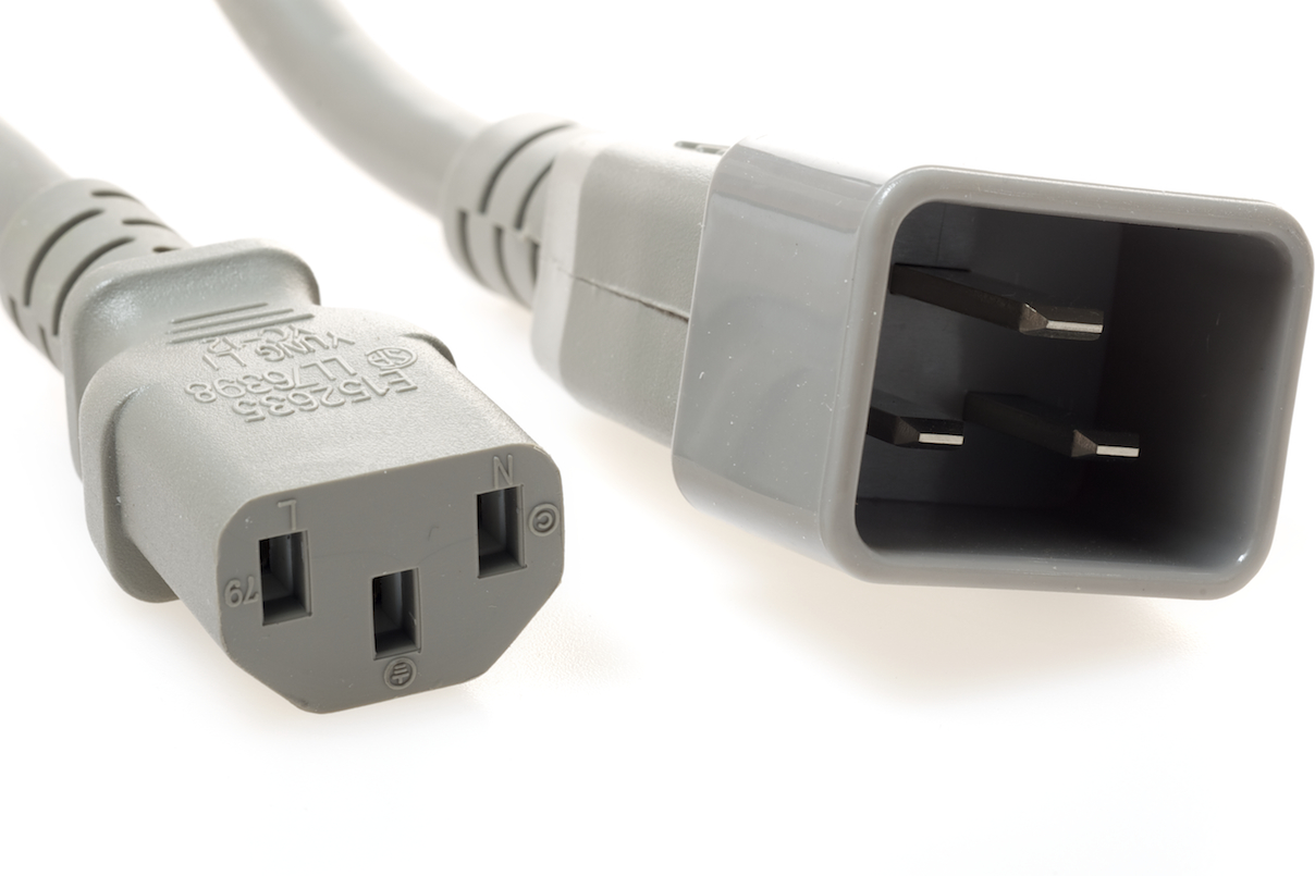 C20 to C13 PDU to Server 15 Amp Power Cord- Gray