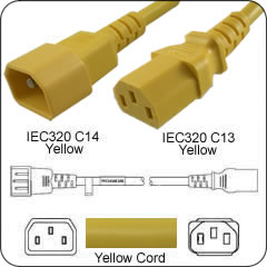 IEC 320 C14-C13 8 Ft 10 Amp PDU Power Cord - Yellow