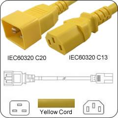 C20 TO C13 PDU to Server 15 Amp Power Cord 1 Feet- Yellow