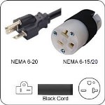 Plug Adapter NEMA 6-20 Plug to 6-15/20 Connector 1 Foot Cord