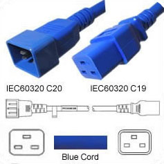 10 Feet C20 TO C19 PDU to Server 20 Amp Power Cord- Blue