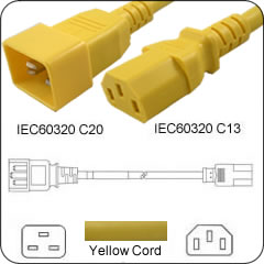 4 Feet C20 TO C13 PDU to Server 15 Amp Power Cord- Yellow
