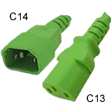C13 to C14 Power Cord 15amp Green- 15 Feet