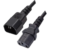 IEC320 C14 to IEC320 C13 PDU Power Cord 10 Amp Black 2Ft