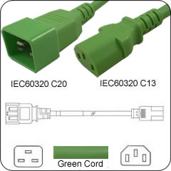 5 Feet C20 TO C13 PDU to Server 15 Amp Power Cord- Green